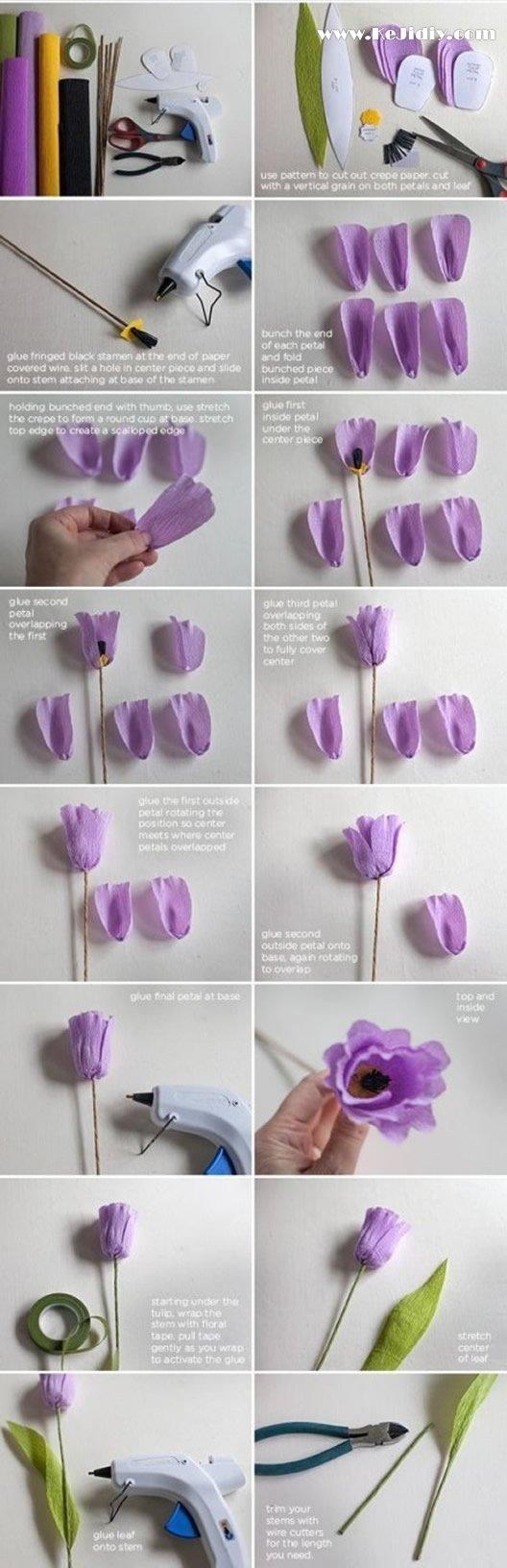 皱纹纸郁金香的折法图解步骤 -  www.kejidiy.com