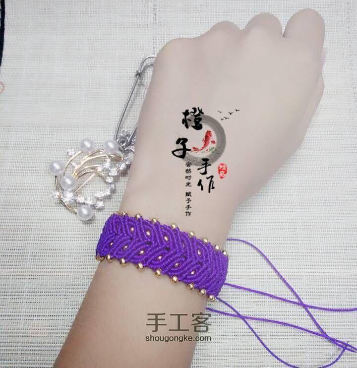 紫色迷情(基础斜卷结手链) 第2步