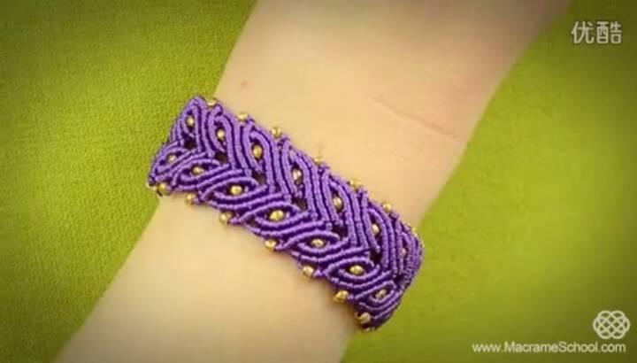 紫色迷情(基础斜卷结手链) 第6步