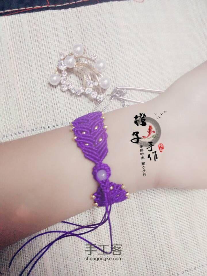 紫色迷情(基础斜卷结手链) 第3步