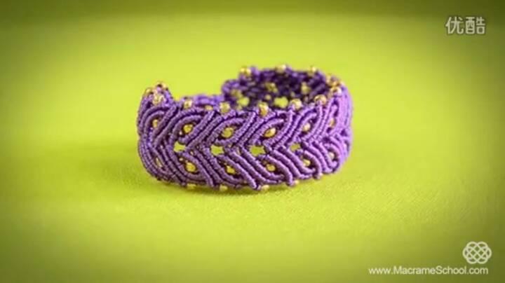 紫色迷情(基础斜卷结手链) 第5步