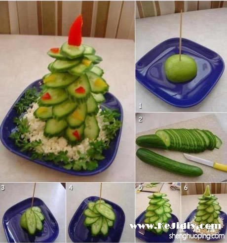 好玩又好吃:水果圣诞树的做法 -  www.kejidiy.com