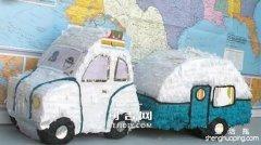纸皮纸箱DIY做露营车玩具车公交车小车的方法